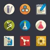 Symboler för vetenskapstemalägenhet stock illustrationer