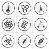 9 symboler för vetenskapsvektorcirkel Arkivbild