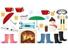 Symboler för vinterbeståndsdelvektor Royaltyfria Foton