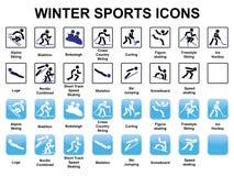 Symboler för vintersportar Fotografering för Bildbyråer