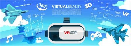 Symboler för virtuell verklighet för VR-exponeringsglas 3d stock illustrationer