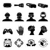 Symboler för virtuell verklighet- och hörlurar med mikrofonexponeringsglasvektor Symboler för apparat för avkännare för simulerin stock illustrationer