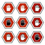 symboler för handoktogonstopp royaltyfri illustrationer