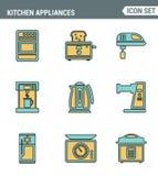 Symboler fodrar fastställd högvärdig kvalitet av köksgeråd, hushållhjälpmedel och bordsservis Modern stil för design för pictogra royaltyfri illustrationer