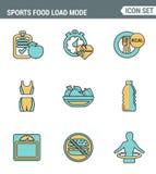 Symboler fodrar fastställd högvärdig kvalitet av konditionsymbolen Sunda kalorier för brännskadan för funktionsläget för sportmat Arkivbild