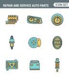 Symboler fodrar fastställd högvärdig kvalitet av reparationen, och hjälpmedel för auto delar för service parkera bilen i garage a vektor illustrationer