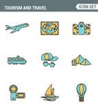Symboler fodrar fastställd högvärdig kvalitet av turismlopptrans., tur till semesterorthotellet Modern design för pictogramsamlin stock illustrationer
