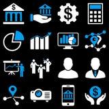 Symboler för bankrörelseaffär och presentations Royaltyfri Foto