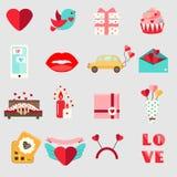 Symboler för dag för St-valentin` s Uppsättningen av den färgrika plana romantiker, förälskelse semestrar symboler Royaltyfri Foto