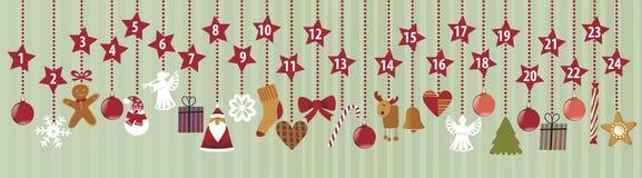 symboler för element för jul för adventkalendertecknad film time olikt Royaltyfri Fotografi