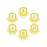 Symboler för eurodollarYen Yuan Bitcoin Ruble Pound Mainstream valutor på skölden undertecknar Isolat för mall för vektorillustra Fotografering för Bildbyråer