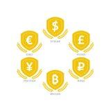 Symboler för eurodollarYen Yuan Bitcoin Ruble Pound Mainstream valutor på skölden undertecknar Isolat för mall för vektorillustra Royaltyfria Bilder