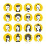 Symboler för folkAvatarframsida Royaltyfri Fotografi