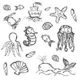 Symboler in för klotter för fisk- och havsliv ställde handen drog Arkivbild