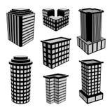 symboler för kontorsbyggnader 3D också vektor för coreldrawillustration Royaltyfria Bilder