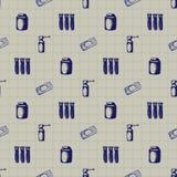 Symboler för medicin för illustration för vektorklotter sömlösa Arkivbilder