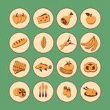 Symboler för rengöringsduk för vektoruppsättninglägenhet med mat Utdragna tecknad filmtappninglivsmedel skuggar länge i den runda Royaltyfri Bild