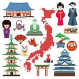 Symboler för vektorJapan kultur Fotografering för Bildbyråer