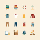Symboler för vektorrengöringsduklägenhet ställer in - man samlingen för klädlagret av obj Arkivfoton