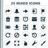 symboler har kontakt med seten Samling av armatur, Db, siren och andra beståndsdelar Inkluderar också symboler liksom ljus, förbu Royaltyfri Bild