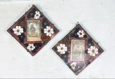 Symboler i den gamla templet Arkivfoto
