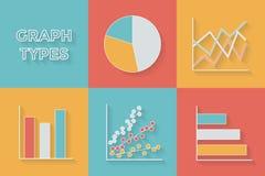 Symboler i plan stil Graftyper - uppsättning av Fotografering för Bildbyråer