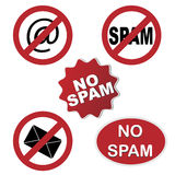 symboler ingen spam Royaltyfri Bild