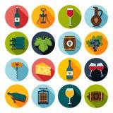 symboler inställd wine royaltyfri illustrationer