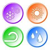 symboler inställt väder vektor illustrationer