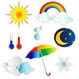 symboler inställt väder Arkivfoto
