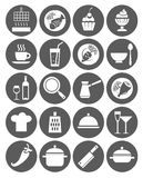 Symboler kök, restaurang, kafé, mat, drinkar, redskap, monokrom, lägenhet Arkivbilder