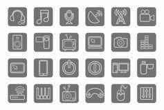 Symboler massmedia, kommunikationer, video, dator, grå färg, kontur, grå bakgrund Fotografering för Bildbyråer