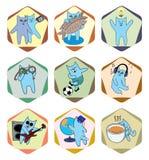 Symboler med aktiva katter Royaltyfria Bilder