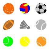 Symboler med beståndsdelar av sportar, bollar för fotboll, volleyboll Royaltyfri Bild