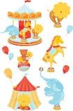 Symboler med cirkusen Royaltyfria Bilder