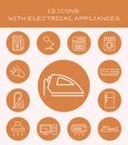 13 symboler med elektriska anordningar Arkivfoto
