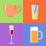 Symboler med exponeringsglas och koppen Vektor Illustrationer