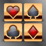Symboler med kortet passar symboler i guld Fotografering för Bildbyråer