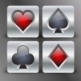 Symboler med kortet passar symboler i silver Arkivfoto