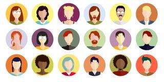 Symboler med kvinnor av olika nationaliteter för din design Arkivfoton