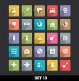 Symboler med lång skuggauppsättning 18 Arkivfoton