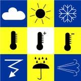 Symboler med väderfenomen Royaltyfri Fotografi