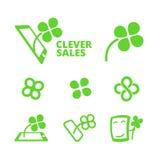 Symboler med växt av släktet Trifolium, teknologi och försäljningar Arkivbilder