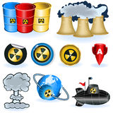 symboler nuke royaltyfri illustrationer