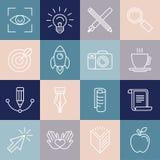 Symboler och emblem för grafisk formgivare för vektor i linjär stil royaltyfri illustrationer