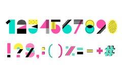 Symboler och nummer för vektor idérika för sommaralfabet Arkivfoton