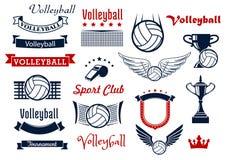 Symboler och symboler för sportar för volleybolllek Royaltyfri Foto