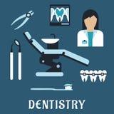 Symboler och symboler för tandläkareyrkelägenhet royaltyfri illustrationer
