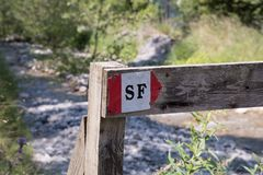 Symboler och undertecknar in skogbanorna Arkivbilder