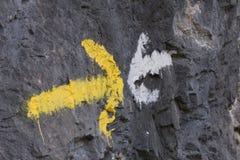 Symboler och undertecknar in skogbanorna Royaltyfri Foto